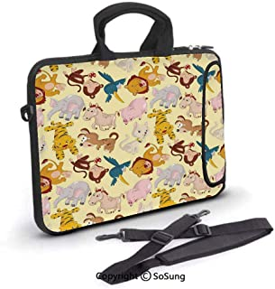 14 inch Laptop Case,Cartoon Animals Jungle Themed Design Monkey Pig Tiger Elephant Lion Horse Sparrow Decorative Neoprene Laptop Shoulder Bag Sleeve Case with Handle and Carrying & External Side Pocke