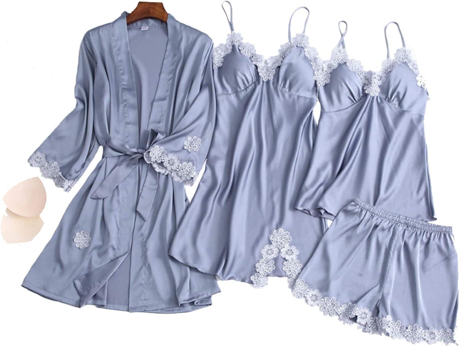 FMOGG 4 Piece Womens Pajama Set, Silk Satin Lace Cami Sleepwear