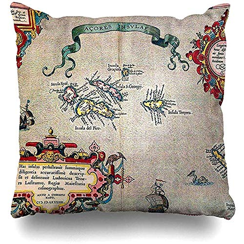 GodYo Throw Pillow Covers 1pack Azoren Oude kaart Vintage Sailing Exploration Pillowslip Sofa Cute