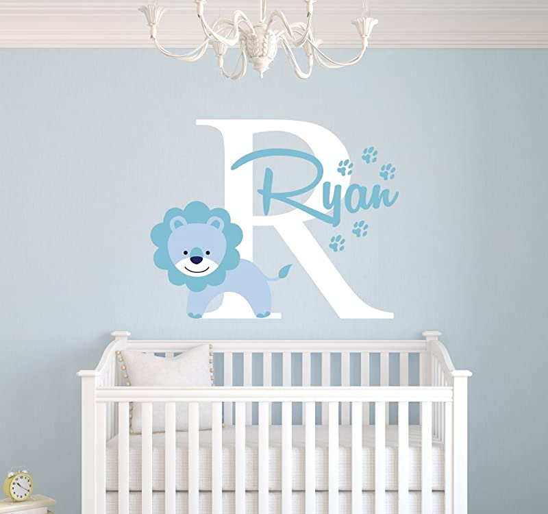 Personalized Lion Name Wall Decal Baby Boy Room Decor Nursery Wall Decals Art Vinyl Sticker