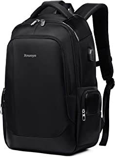 Xnuoyo 15 6 Inch Business Laptop Backpack  Large Capacity Computer Rucksack with USB Charging Port  Functional Water Resistant Daypack for Travel Business College Men Women  Black