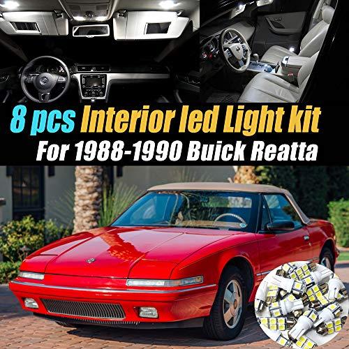 8Pc Super White 6000k Car Interior LED Light Bulb Kit Pack Compatible for 1988-1990 Buick Reatta