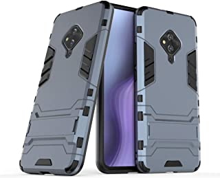 nh ケース 対応VIVO V17 Pro ケーススリムで薄い水平キックスタンド [スクリーンプロテクターき2個付] ドロッププロテクションファッション電話ケースバンパーカバーVIVO V17 Pro用(青い)