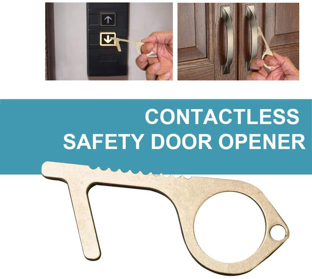 Contactless Safety Door Opener Safety Protection NO Touch Brass Key Opener Kit-W