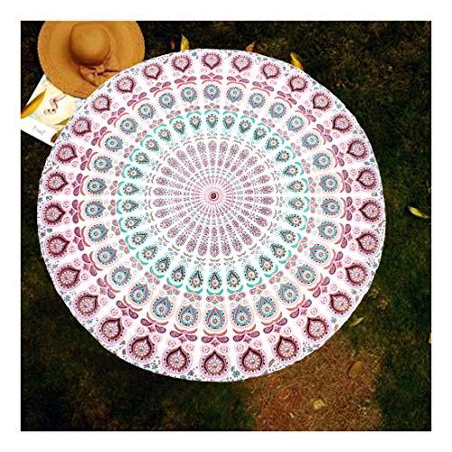 raajsee Indien Strandtuch Rund Mandala Hippie/Groß Indisch Rundes Baumwolle/Boho Runder Yoga Matte Tuch Meditation/Tischdecke Rund aufhänger Decke Picknick Teppich 70 inch