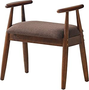Giantex Shoe Bench, Vanity Stool Upholstered Seat, Wood Footrest Stool, Load Capacity 286 lbs, Entryway Shoe Bench, Ottoman Stool for Bedroom, Living Room (Brown)
