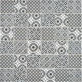 Mosaikfliese Keramik schwarz retro vintage ornament viktorianisch Muster Küche Küchenfliese Fliesenspiegel Wandverkleidung Küchenrückwand Mosaikwand