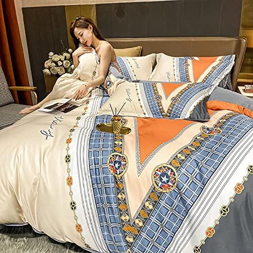Bettbezug 155x220,Set Von Neuen WasserwäSche-Seidedrucken Vier-Teiliges Set-EIN_1,5m Bett (4 StüCk)