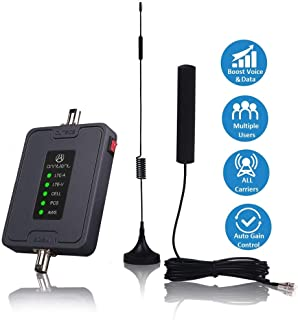 Cell Phone Signal Booster for Car, Truck and RV - Multiple Band 700/850/1700/1900MHz Cellular Repeater Antenna Kit Boosts GSM 3G 4G LTE Voice & Data Signal for All Carriers