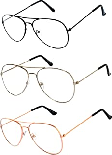 Aviator Clear Lens Metal Sunglasses Men's Women's Non-Prescription OWL