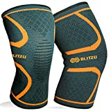 BLITZU Knee Compression Sleeve for Men & Women – Best Knee Brace Support for Running, Gym, Workout, Fitness, Weightlifting. Joint Pain Relief, Arthritis, ACL, Meniscus Tear and Injury Recovery M