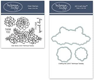 Sweet Succulents Clear Stamps with Matching Metal Dies | Flowers Rubber Stamps | Clear Rubber Stamps | Photopolymer Stamps | Die Cuts | Craft Dies | Card Making Supplies