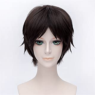 LanTing Cosplay Peluca Attack on Titan Eren Jaeger Dark Brown Short Styled Woman Cosplay Party Fashion Anime Human Costume Full wigs Synthetic Cabello Heat Resistant Fiber