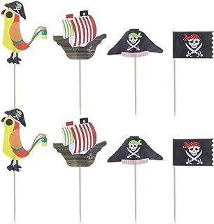 SUPVOX 48 piezas de pastel de pirata toppers de cupcake selecciones de alimentos para decoraciones de suministros de fiesta temática pirata de halloween