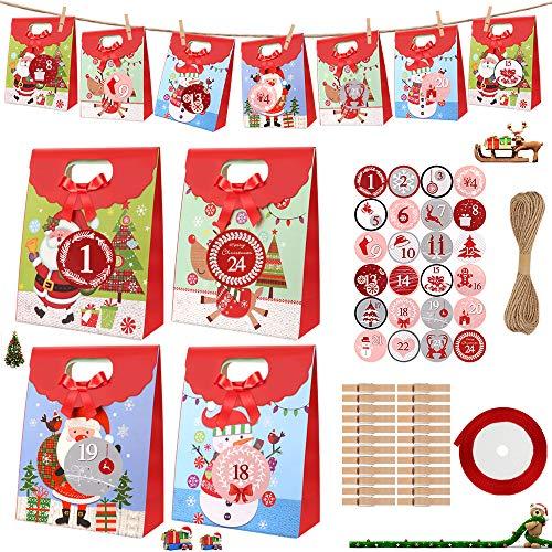 DIAOCARE 24 stück Geschenktüten für Weihnachten,Kraftpapiertüten Geschenktasche für Weihnachten, Geschenkverpackung, Kraft Geschenktüten, Adventskalende mit 24 Zahlenaufklebern