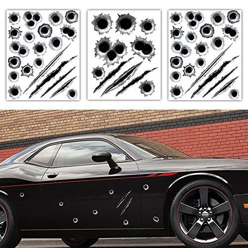 1797 車用 ステッカー 3Dステッカー 弾丸 弾痕 傷跡 爪痕 おもしろ いたずら かっこいい カーステッカー 防水ステッカー 自動車 バイク スーツケース PC 汎用 デカール シール 車ドア 装飾 約23×29CM 3枚セット