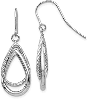 Beautiful White gold 14K 14K White Gold Polished & Textured Teardrop Shepherd Hook Earrings