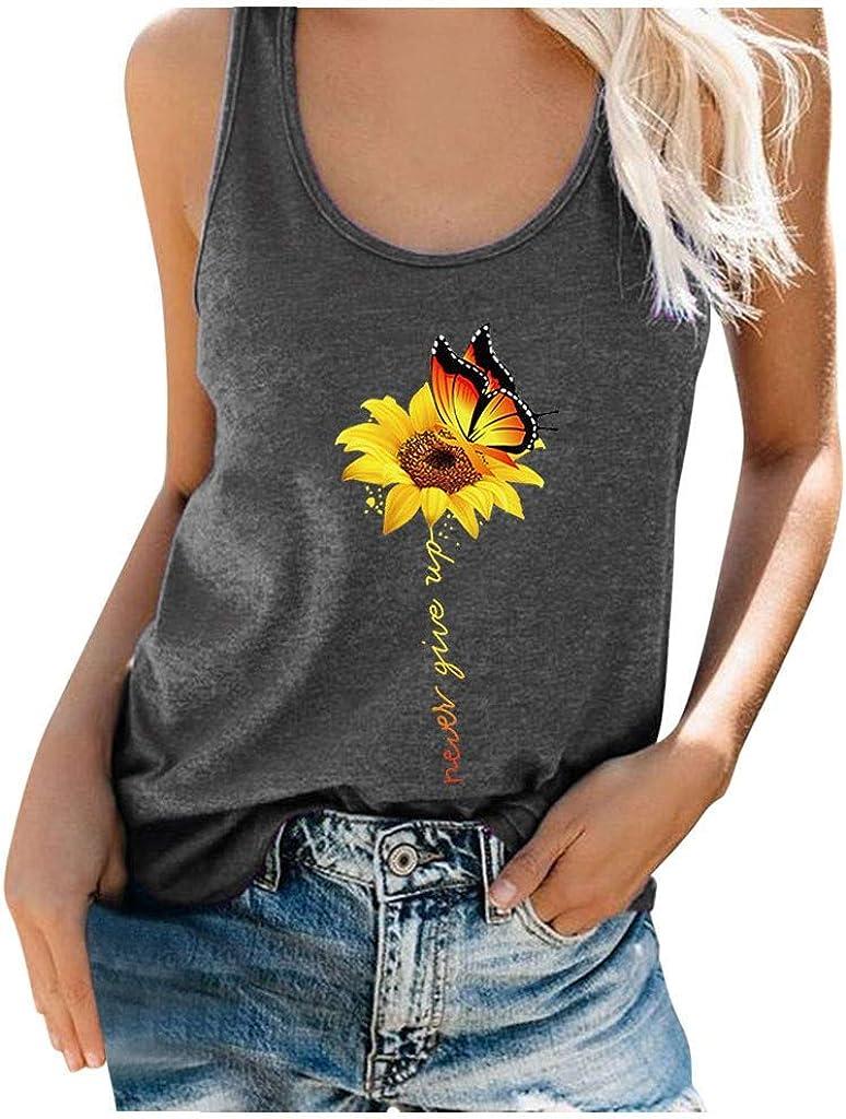 Gerichy Tank Tops for Women, Womens Sunflower Print Sleeveless Tunics Summer Casual Blouses Tees Tank Shirts Vest