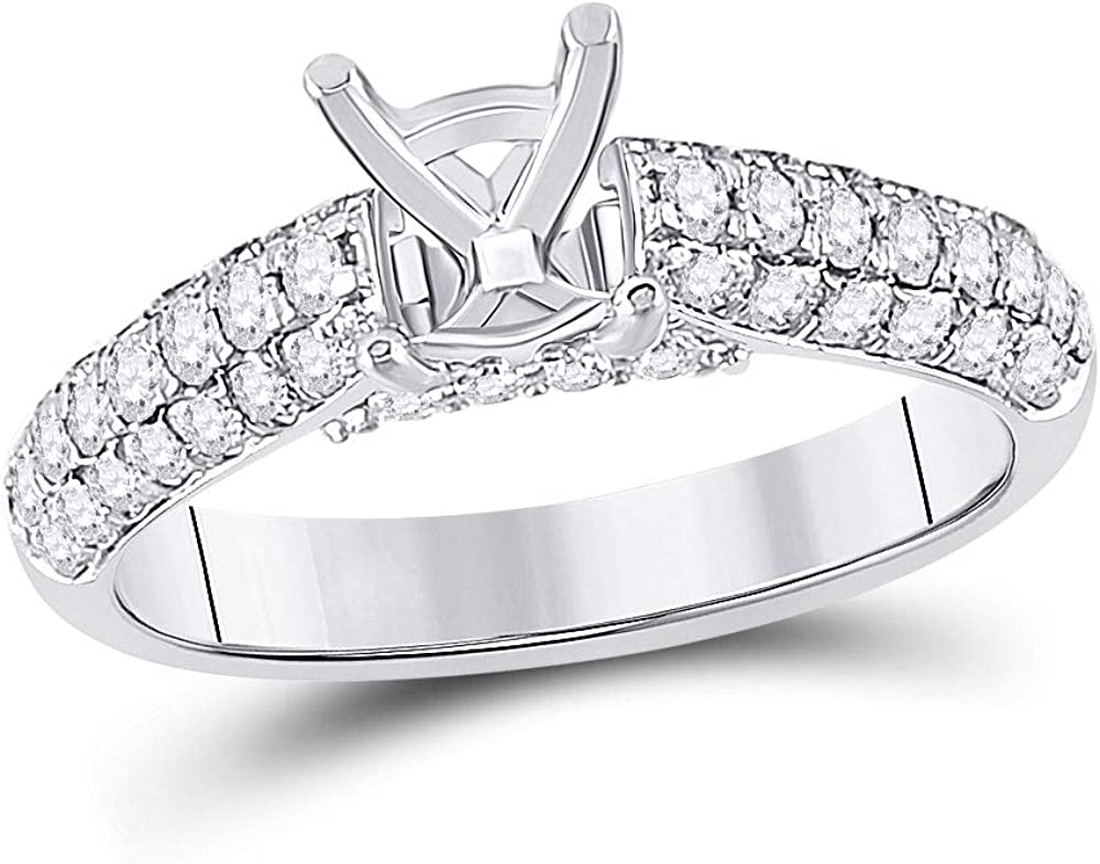 Jewels By Lux 14kt White Gold Round Womens free overseas Diamond Semi-Mount Se
