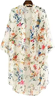 AELSON Women's Floral Chiffon Kimono Cardigan Blouse Beach Cover up