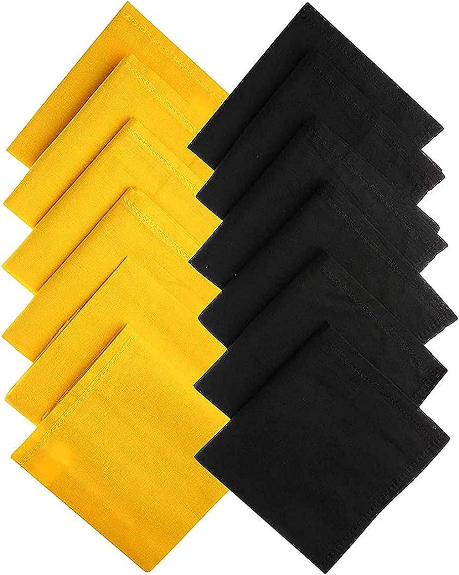 Kalagiri Cotton Premium Collection Black And Yellow Handkerchiefs Hanky Set For Men - Pack of 12 Pcs