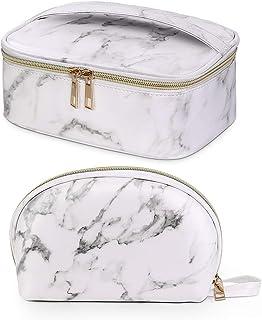 Maange 2-delige make-uptas Waterdichte cosmetische tassen met gouden ritssluiting Draagbare marmeren make-uptas Organizer ...