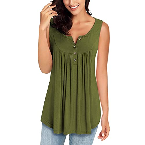 52f07a82a92071 MIROL Womens Spring Sleeveless V Neck Solid Color Casual Swing Shirts Flowy  Tank Tops Blouses with