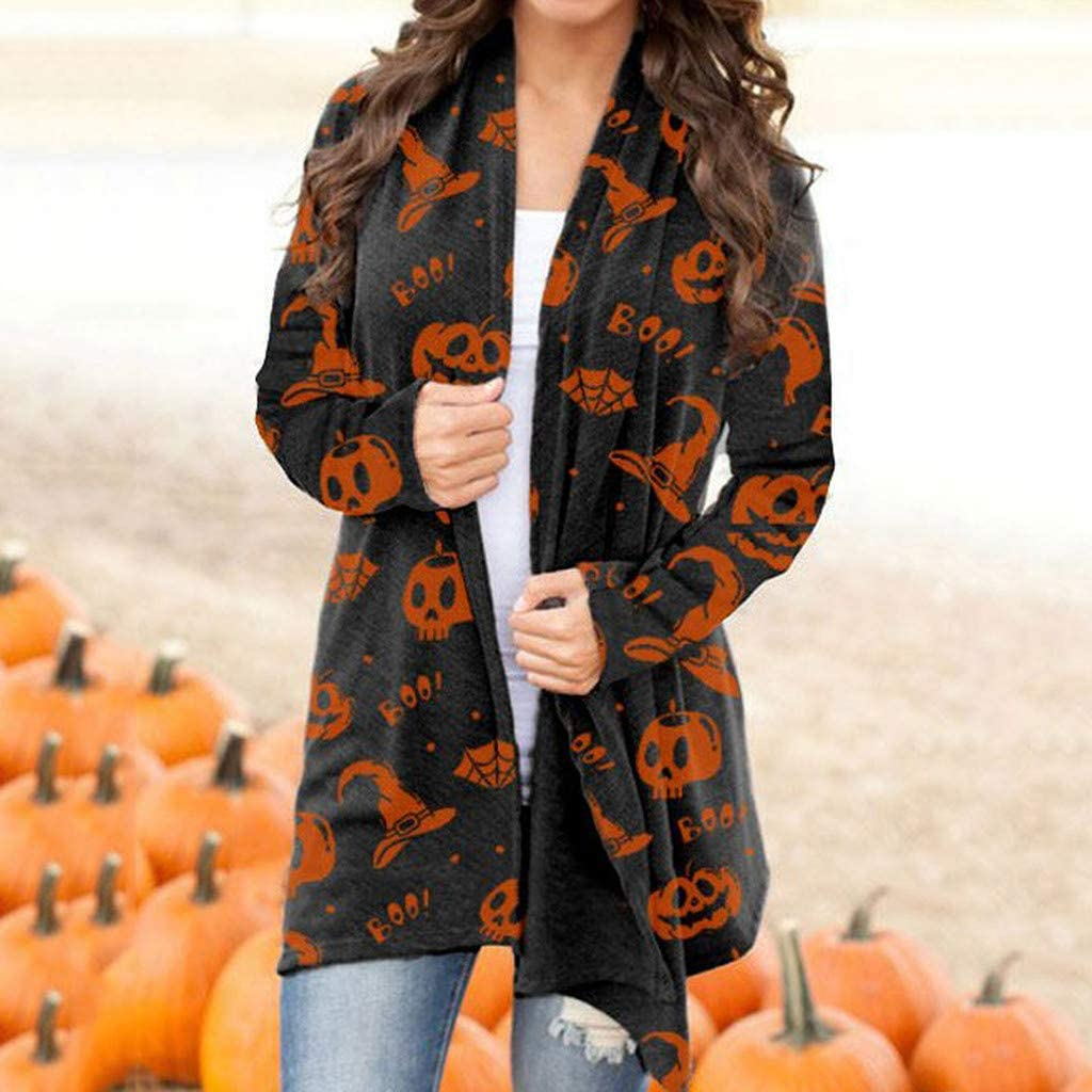 felwors Womens Halloween Cardigan, Long Sleeve Open Front Blouse Outwear Coat Funny Cute Pumpkin Cat Ghost Graphic Tops
