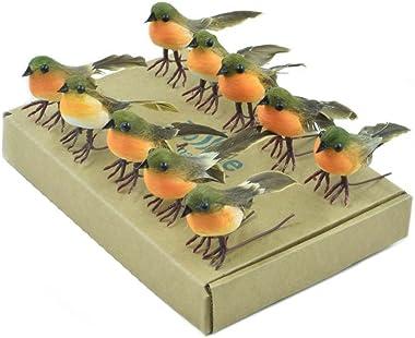 ToSSme 10PCS Robin Bird Christmas Tree Decoration Craft Very Cute Artificial Feather