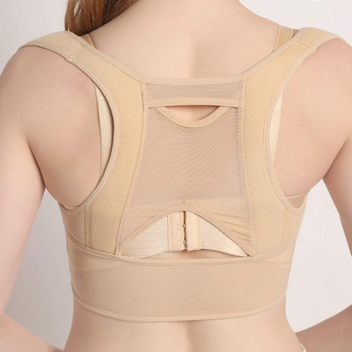 ホイップ迷路どこにも通気性のある女性バック姿勢矯正コルセット整形外科用アッパーバックショルダー脊椎姿勢矯正腰椎サポート - ベージュホワイト