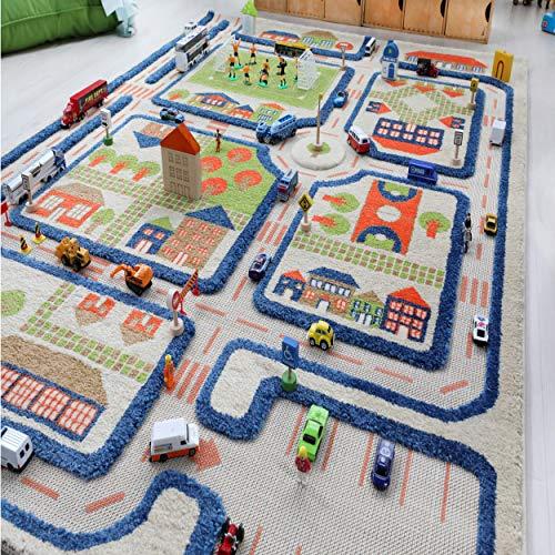 Little Helper 121MD033MA10153 IVI Hypoallergener Dicker 3D-Kinderspielteppich, 100 x 150 cm, blau