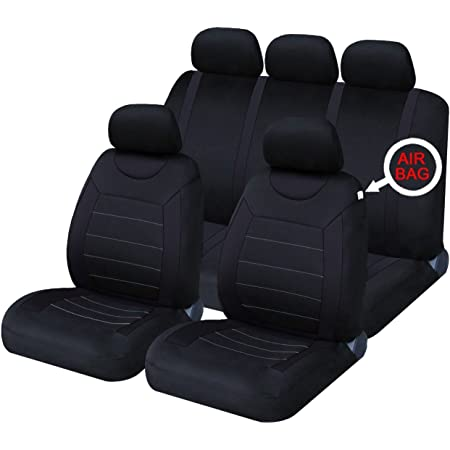 Xtremeauto® Classic Car Seat Covers Set Front & Rear complete with headrest Covers (Black)