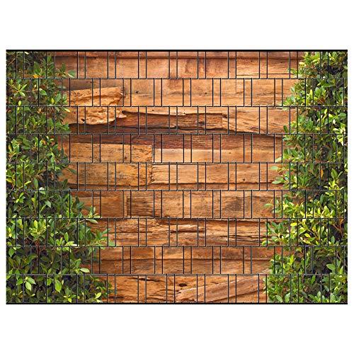 PerfectHD Zaunsichtschutz   30 Motive   Sichtschutzstreifen für Doppelstabmattenzaun   Windschutz Sonnenschutz Blickdicht   2,50m x 1,80m   19cm   9 Streifen   Holz und Lorbeer