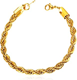 Men Women Fashion Link Bracelet,Wrist Jewelry Stainless Steel/18K Gold Plated Figaro/Cuban/Snake/Rope Chain Bracelet, Width 3-12MM,Stainless/Black/Gold/Rose Gold Color Options