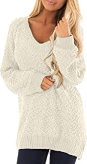 Lovezesent Womens V Neck Long Sleeve Fuzzy Sherpa Knit Pullover Popcorn Tunic Sweaters