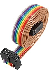 sourcing map Cable Plano Idc De 10 Pines Flexible Multicolor Cinta Arco Iris 148cm De Cable De Puente De Paso De 2,54 mm