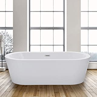 WOODBRIDGE BTA-1504 Acrylic Freestanding Bathtub Contemporary Soaking Tub with Brushed Nickel Overflow and Drain, BTA1504, 67