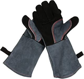 OZERO Upgraded Leather Forge Welding Gloves - 932°F Fire/Heat Resistant Glove Long Sleeve Grill/Pot Holder/TIG Welder/MIG/Stove/Fireplace/BBQ - Five Fingers Loose Men Women (16 inches)
