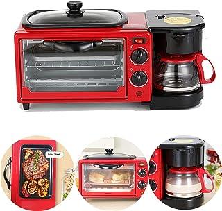 Horno eléctrico 1050 (W), máquina para hacer pan 9L, con sartén antiadherente y cafetera de 0.6L, con mango anti-escaldado, con temporización, horneado, calefacción, descongelación, barbacoa, rojo