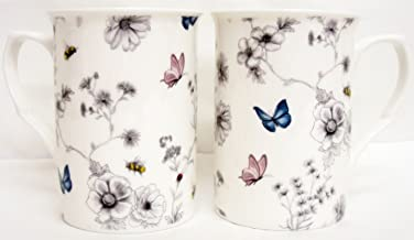 Secret Garden Mug Boston Fine China 12 oz Boxed Cup Flowers Butterflies Bees UK