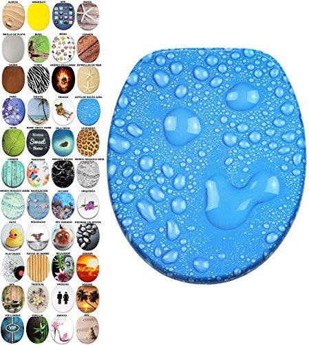 Asiento para inodoro de cierre suave, gran selección de atractivos asientos de inodoro con calidad superior y duradera de madera (Gota de rocío azul)