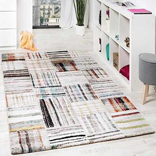 Paco Home Designer Teppich Modern Nomaden Stil Kariert Mit Streifen Multicolor Creme, Grösse:120x170 cm