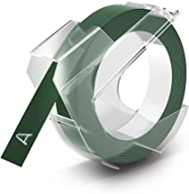DYMO Embossing Tape Self-Adhesive, 9 mm x 3 m - White on Green