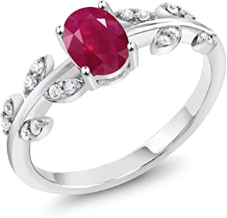 925 Sterling Silver 1.21 Ct Oval Red Ruby Solitaire Olive Vine Ring