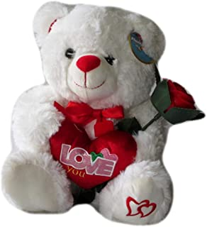 DBK Gifts Love You Stuffed Teddy Bear Holding I Love You Heart and Rose