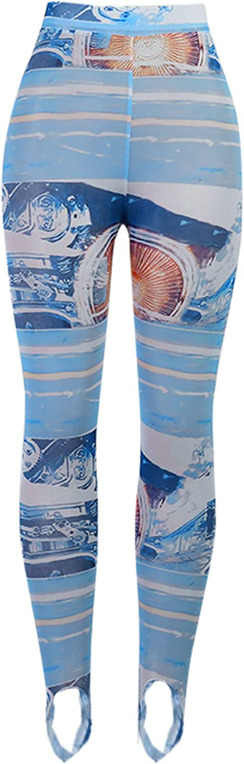 Women 's Sexy Skinny Trousers Casual Vintage Film Printing Stretch High Waist Long Pants
