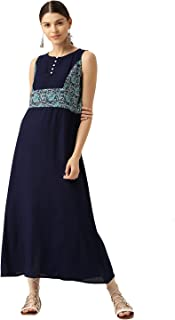 Desi Fusion Women Casual Tunic Long Solid A-Line Maxi Dress (Navy Blue)