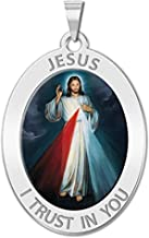 PicturesOnGold.com Divine Mercy Oval Religious Medal Color - 2/3 X 3/4 Inch Size of Nickel, Sterling Silver