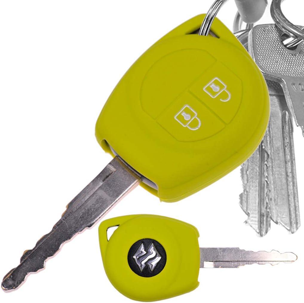 Auto Schlüssel Hülle Silikon Schutz Cover Grün Kompatibel Mit Opel Agila B Nissan Pixo Suzuki Alto