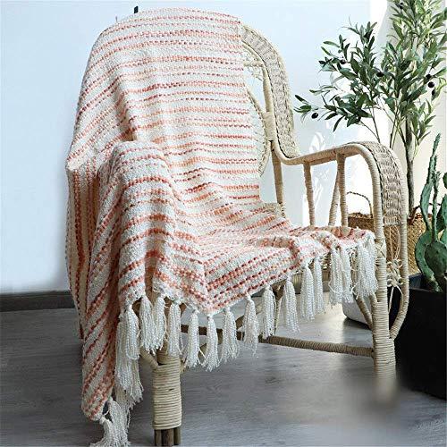 Sofa-Überwurfdecke mit Quasten Dekorative gestrickte Boho-Fransen gewebte weiche Wohnzimmer-Acryl-Überwurfdecke (Farbe Größe: 130x170 cm)